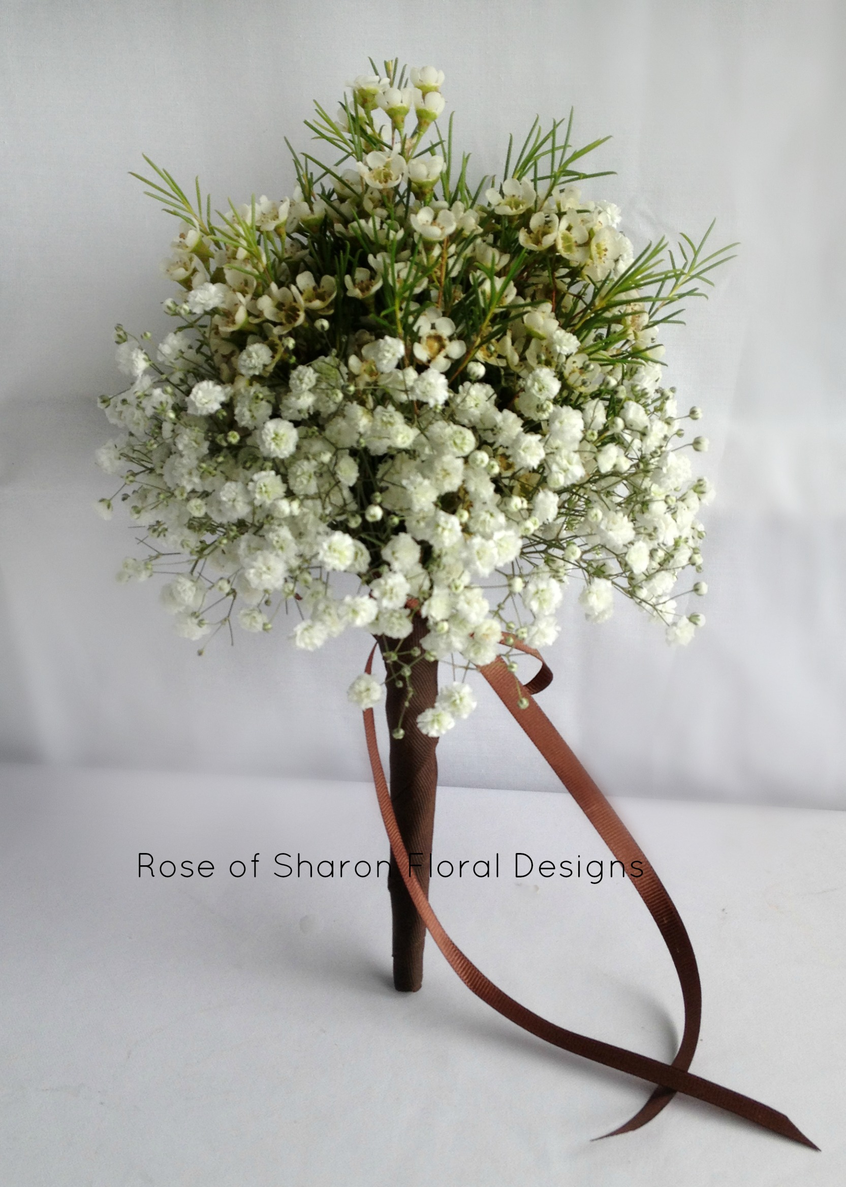 Wax Flower and Baby's Breath Posy. Rose of Sharon Floral Designs