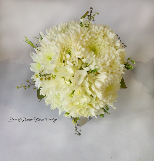 Hand-Tied Bouquet. White Hydrangeas and Spider Mums. Rose of Sharon Floral Designs