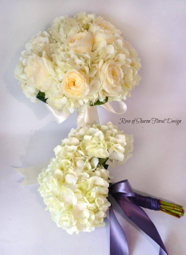 Garden Rose and Hydrangea Bridal Bouquet and Hydrangea Bridesmaid Bouquet. Rose of Sharon Floral Designs