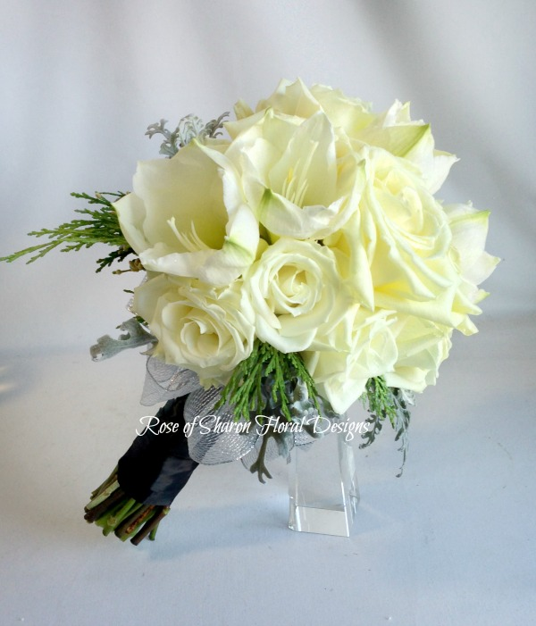 White Hand-Tied Amaryllis and Rose Bouquet. Rose of Sharon Floral Designs