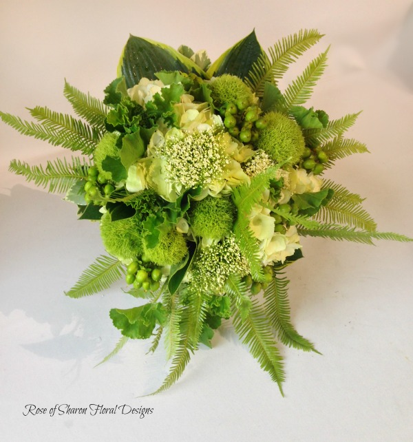 Hand-Tied Hydrangea and Mixed Foliage Bouquet. Rose of Sharon Floral Designs