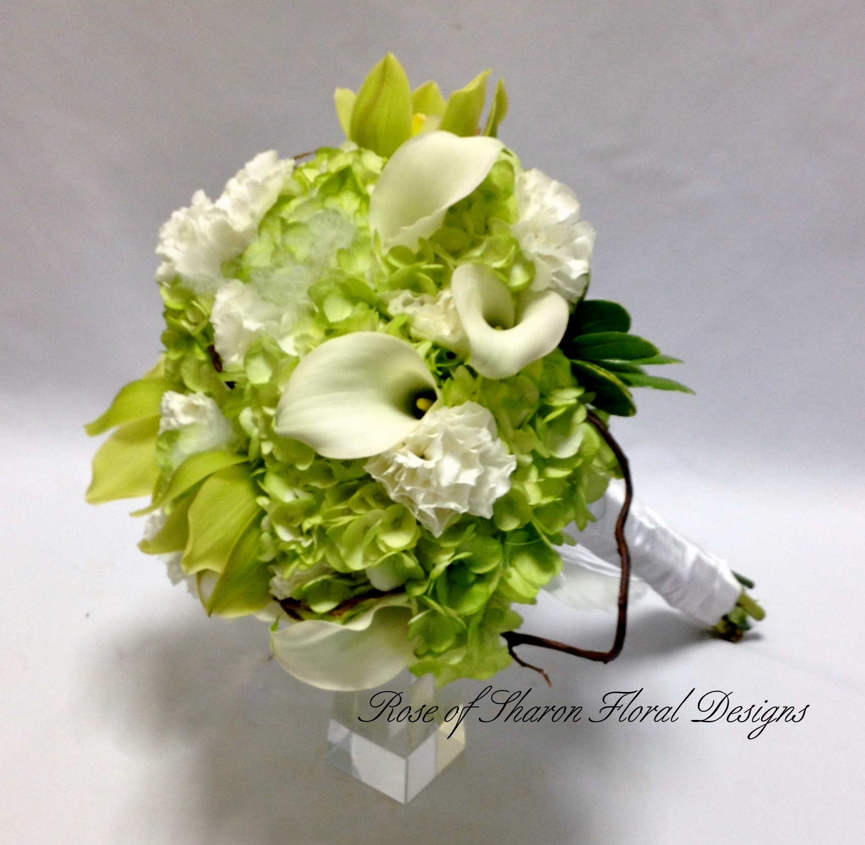 Hand-Tied Hydrangea, Calla Lily, Carnation Bouquet. Rose of Sharon Floral Designs