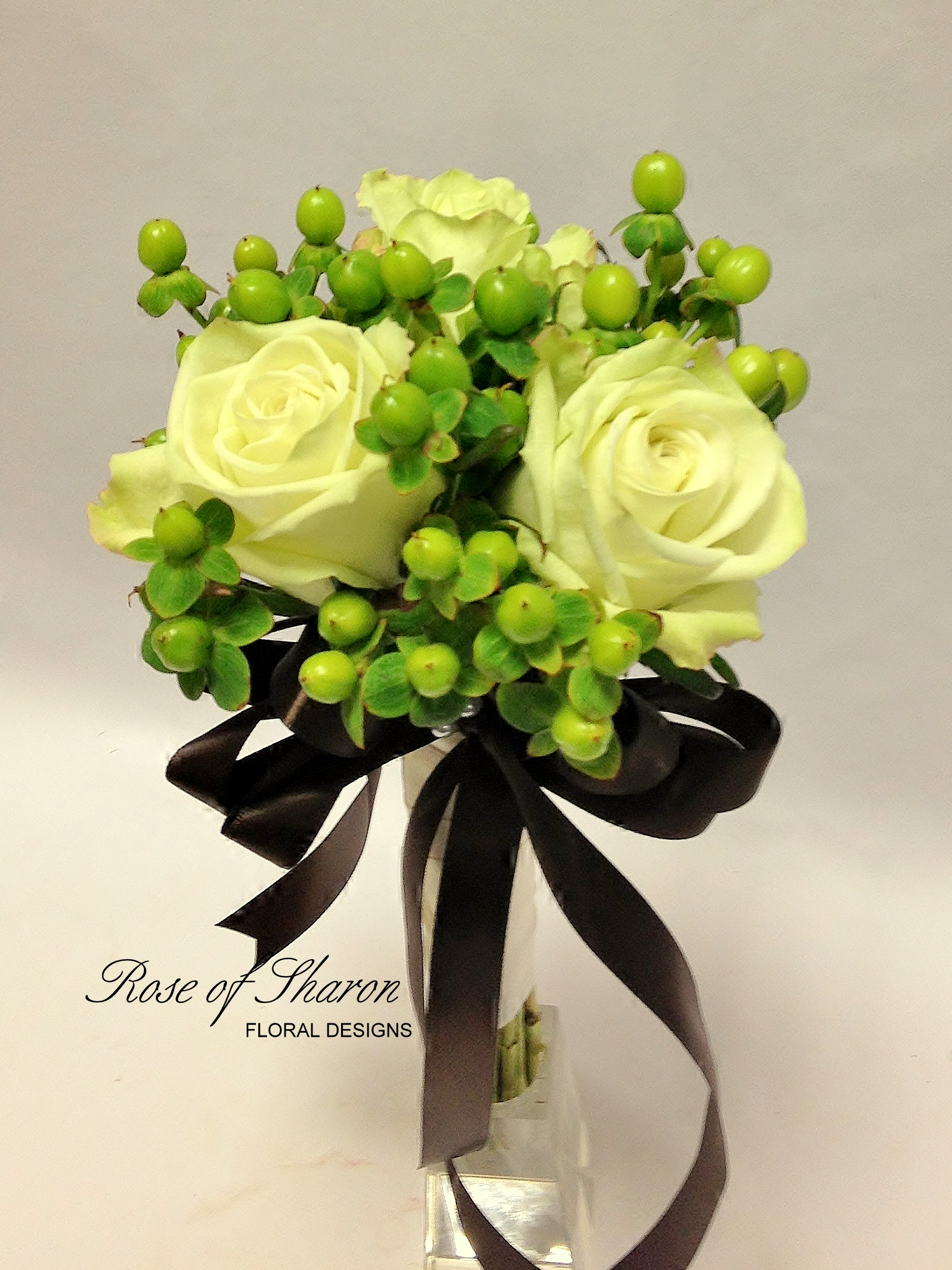 Rose and Hypericum Berry Nosegay Bouquet. Rose of Sharon Floral Designs