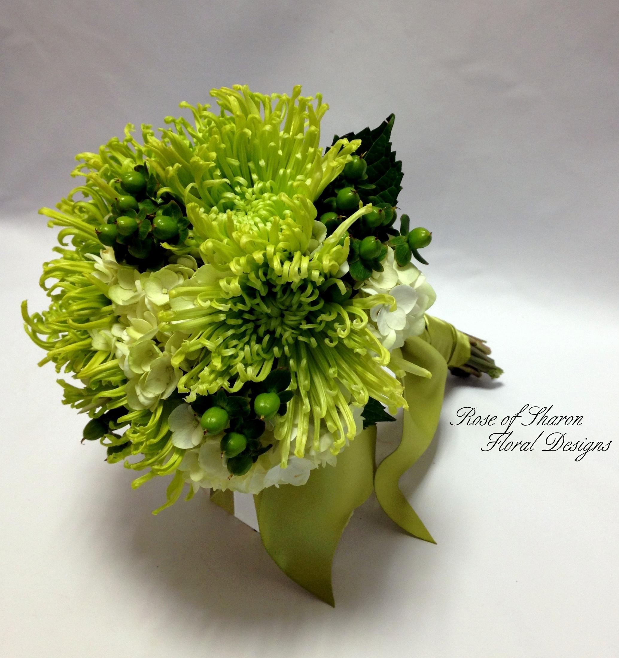 Hand-Tied Bouquet. Spider Mum, Hydrangea & Hypericum Berries. Rose of Sharon Floral Designs