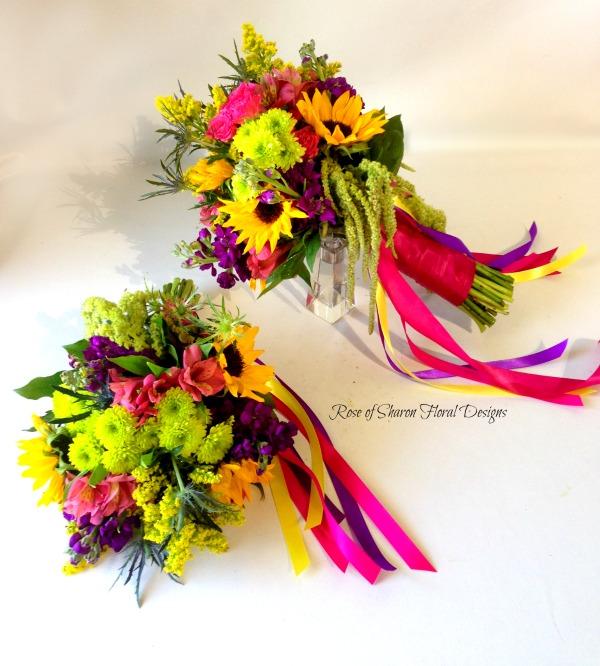 Sunflower, Mum, Alstroemeria, Stock Hand Tied Bouquet, Rose of Sharon Floral Designs