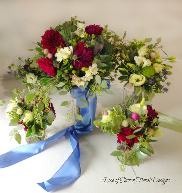 Hand Tied Bouquets with Dahlias, Ranunculus and Foliage, Rose of Sharon Floral Designs