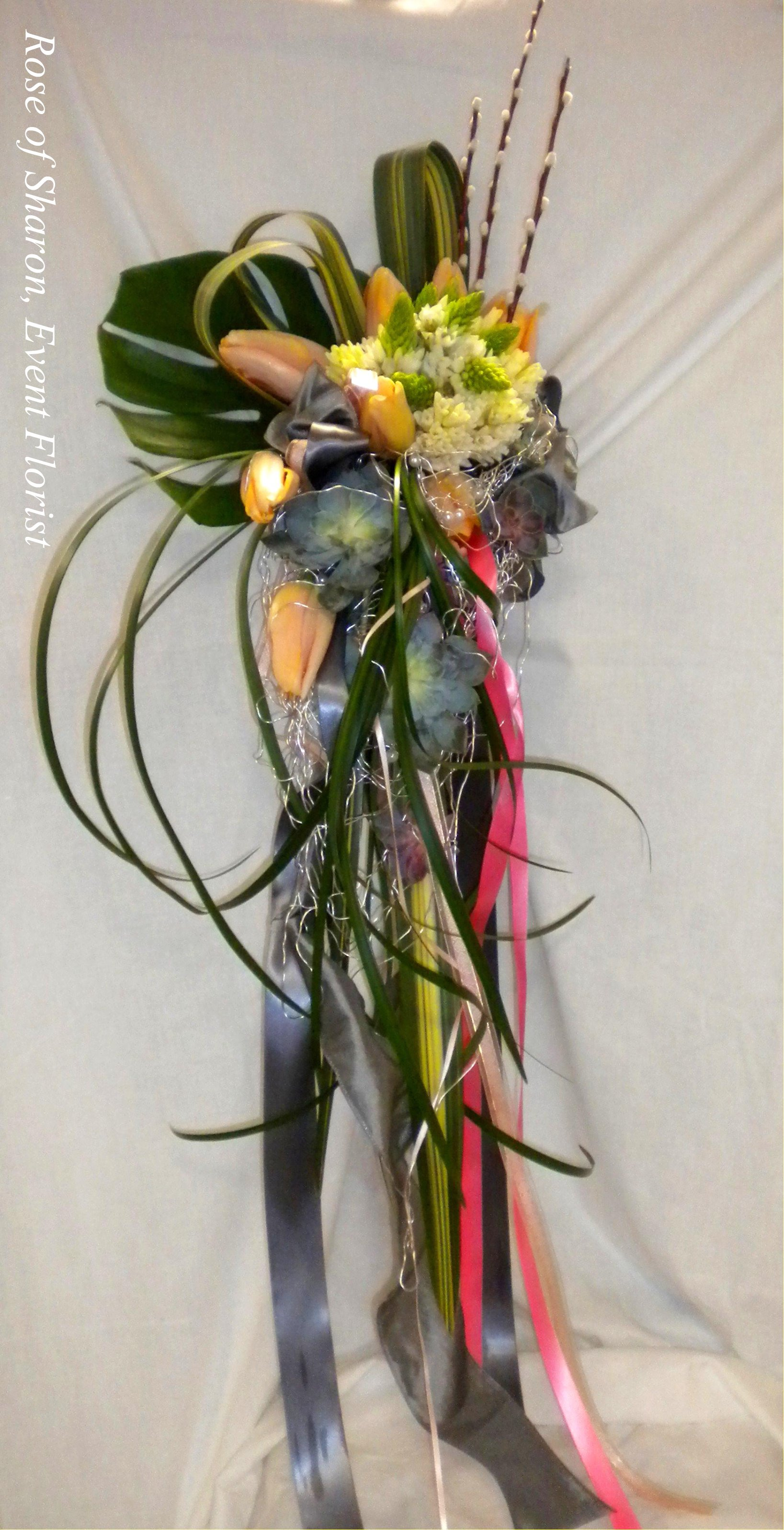 Cascading Bouquet with Tulips, Star of Bethlehem and Succulents, Rose of Sharon Floral Designs