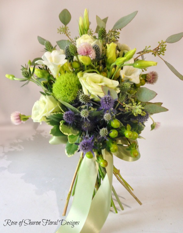 Hand Tied Rose, Freesia and Eryngium Bouquet, Rose of Sharon Floral Designs