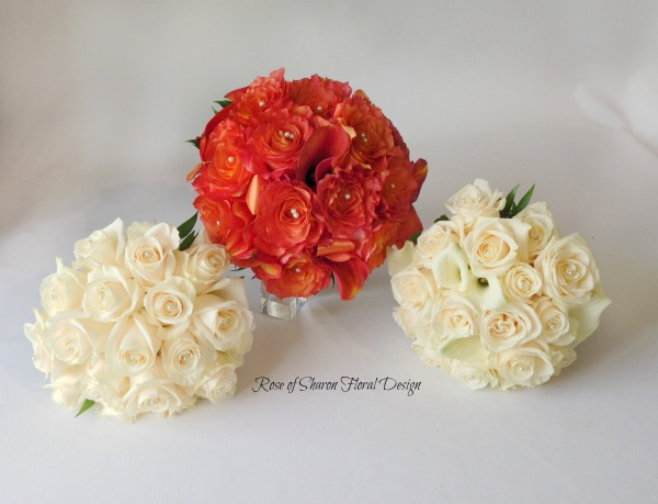 Cream and Orange Hand Tied Rose Bouquets. Rose of Sharon Floral Designs