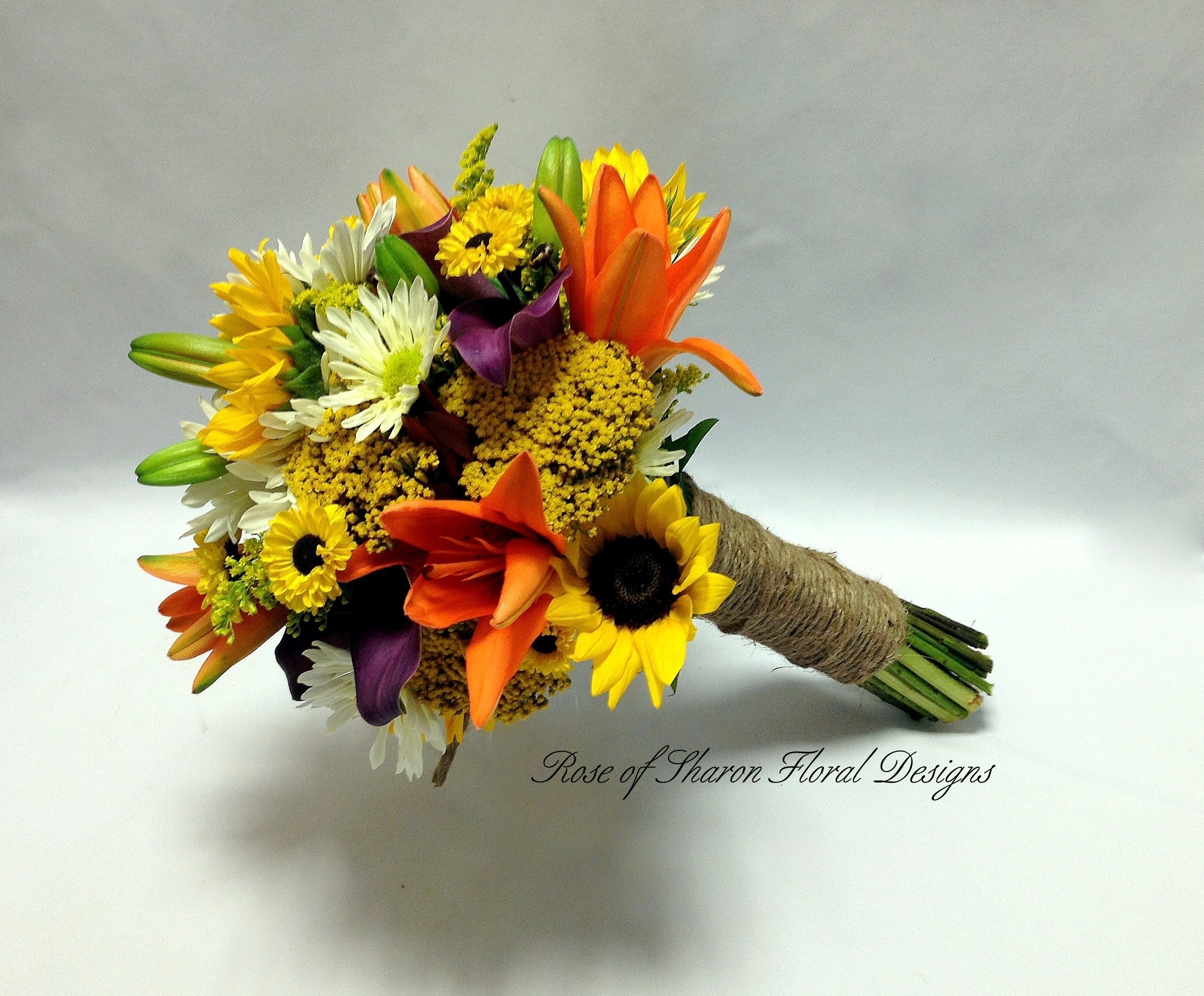 Hand Tied, Lily, Mum and Sunflower Bouquet, Rose of Sharon Floral Designs