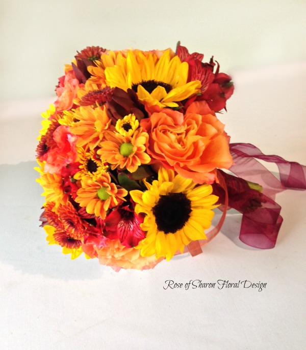 Sunflower, Mum, Rose hand Tied Bouquet, Rose of Sharon Floral Designs