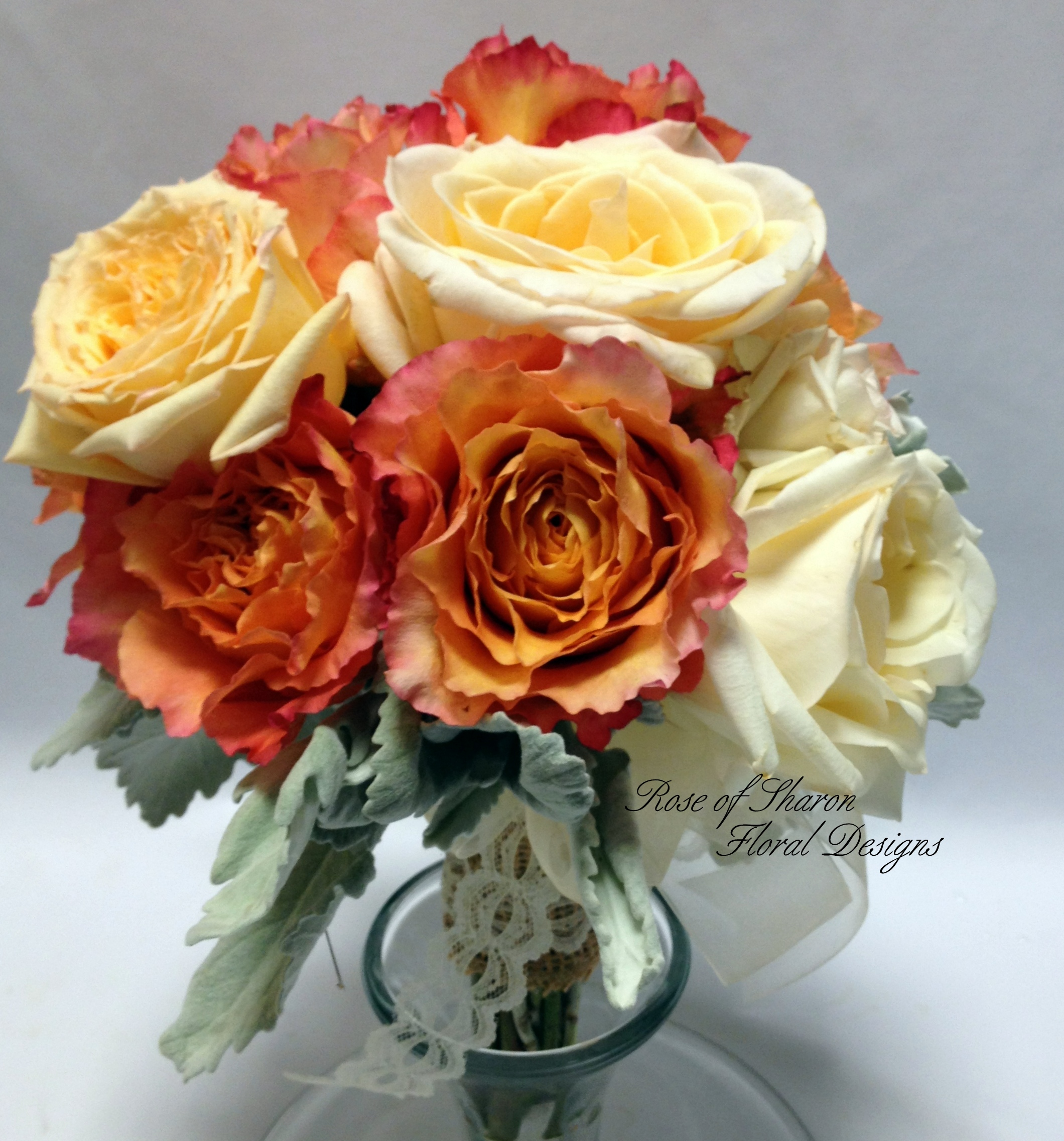 Orange and Cream Hand-Tied Rose Bouquet. Rose of Sharon Floral Designs