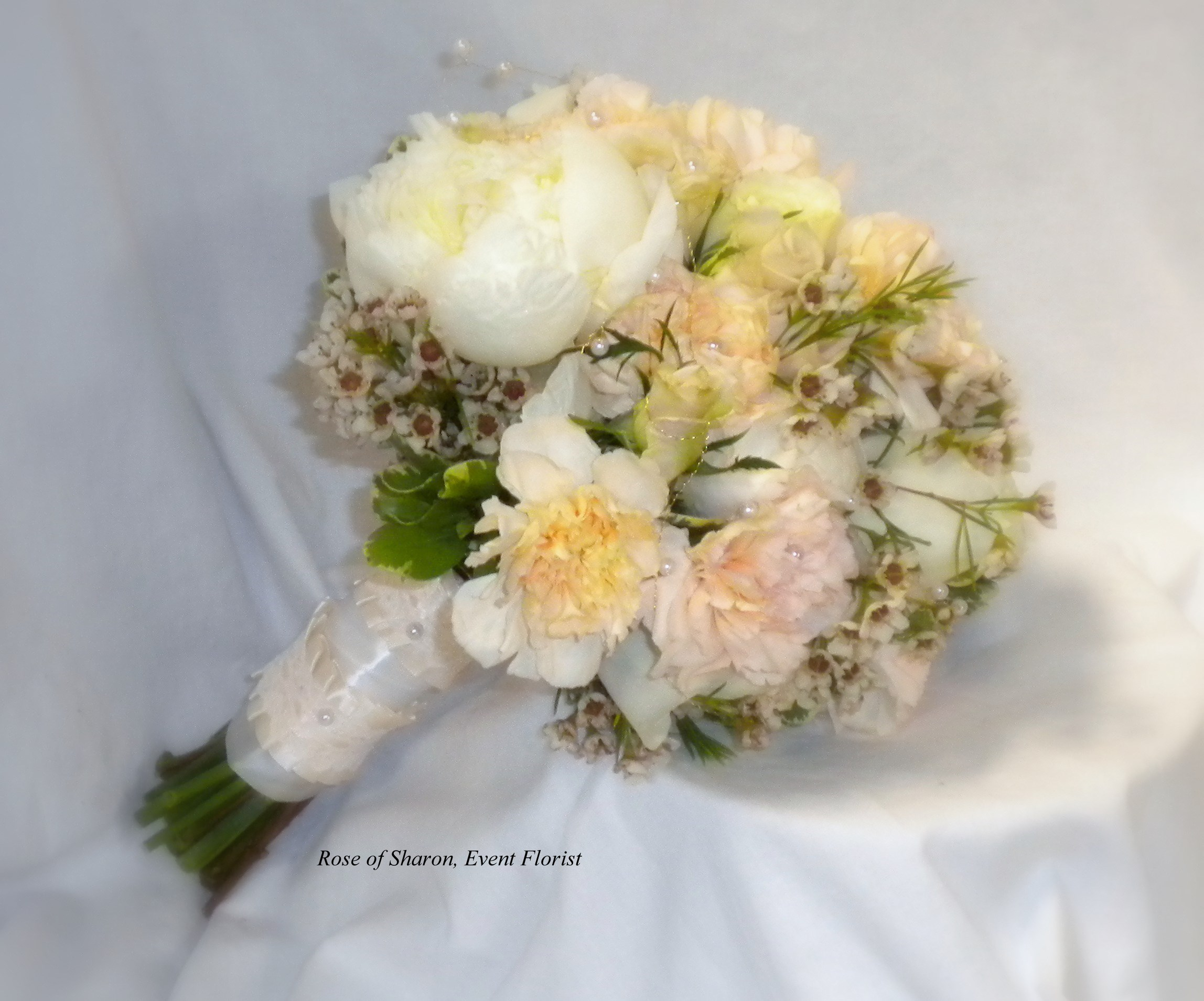 Hand Tied Bouquet featuring Carnations, Peonies and Wax Flower, Rose of Sharon Floral Designs