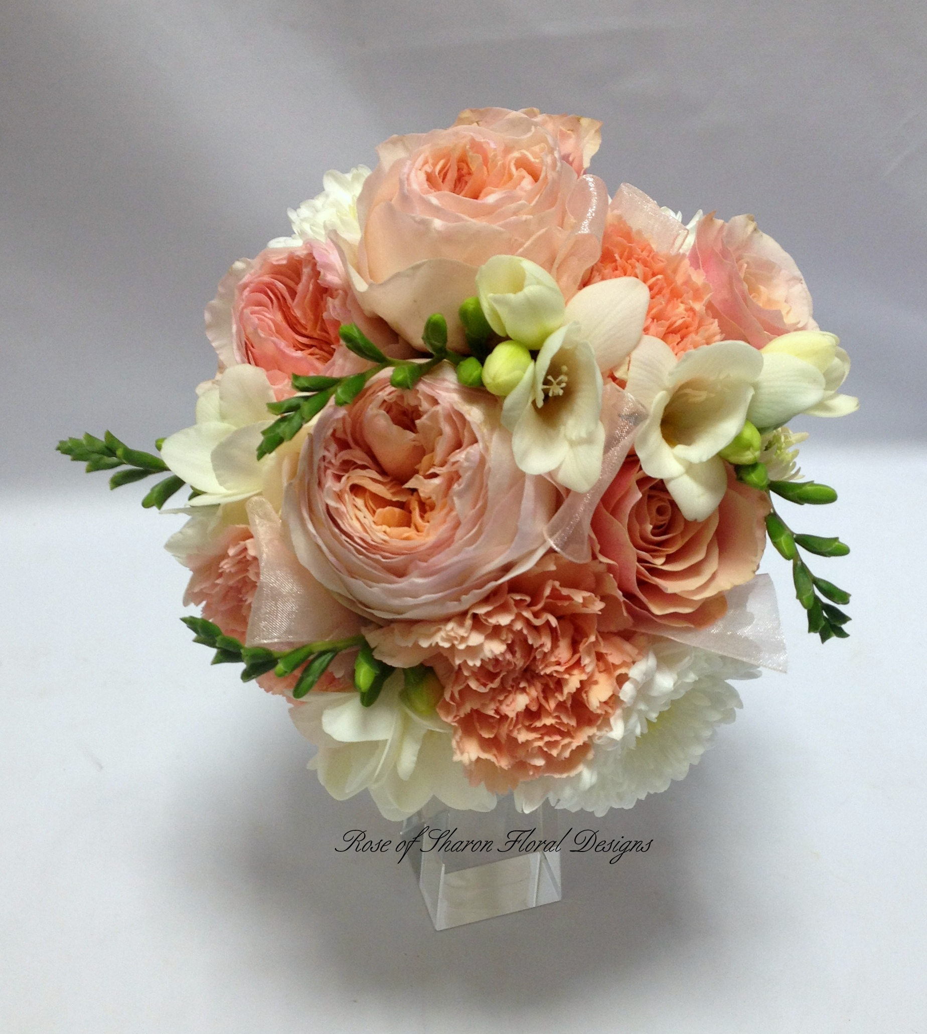 Hand Tied Bouquet featuring Mums, Freesia and Garden Roses, Rose of Sharon Floral Designs