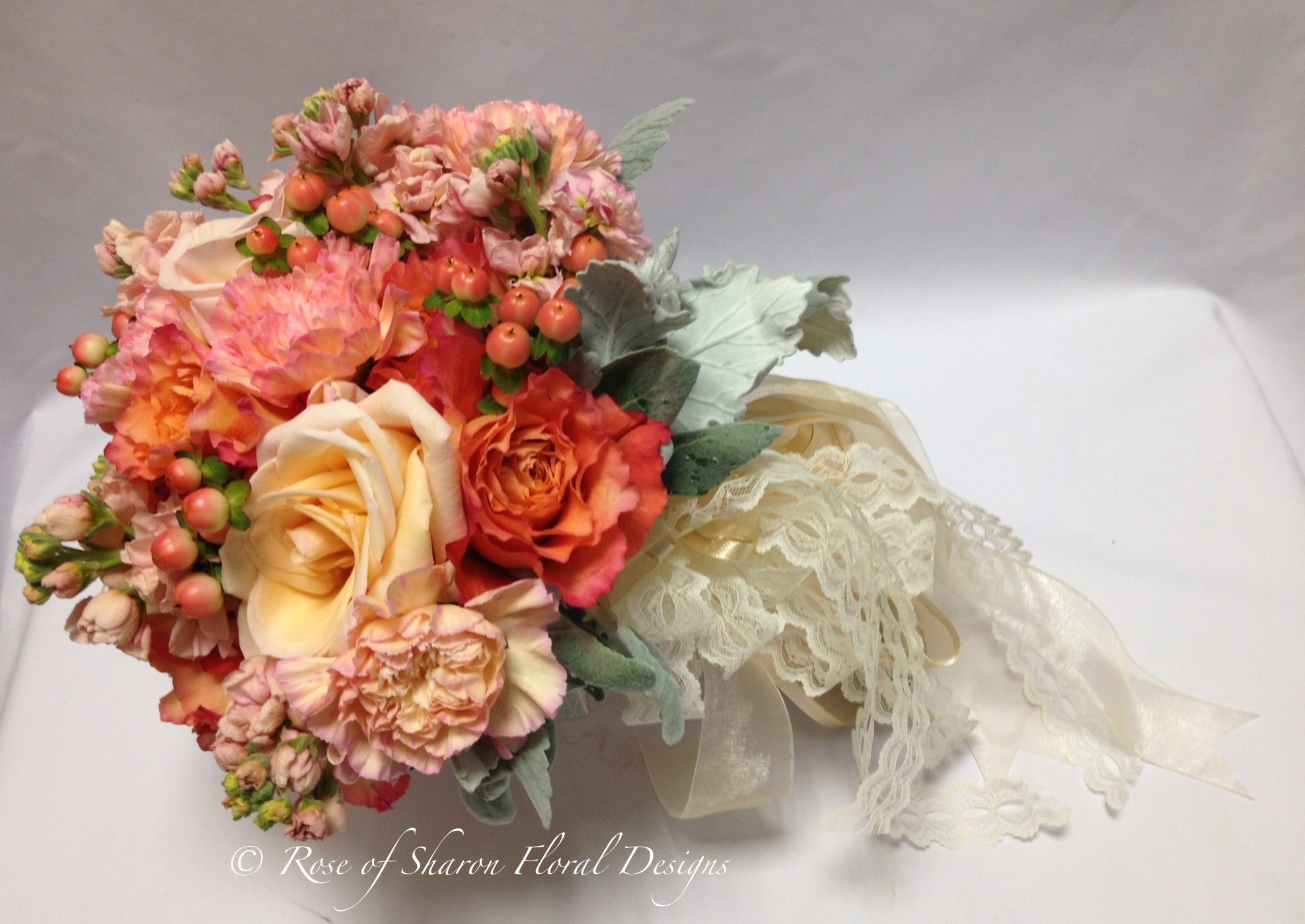 Peach Spring Mix hand Tied Bouquet, Rose of Sharon Floral Designs
