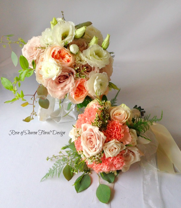 Peach and White Hand Tied Bouquets featuring Roses, Rose of Sharon Floral Designs