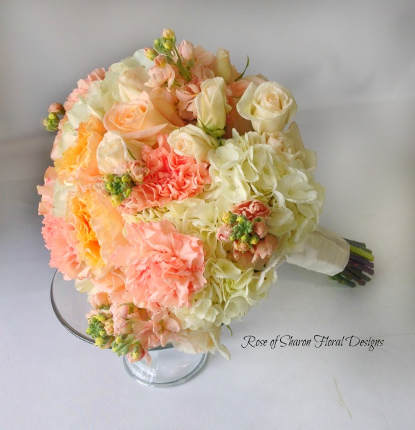 Hydrangea and Carnation Bouquet with Roses, Rose of Sharon Floral Designs