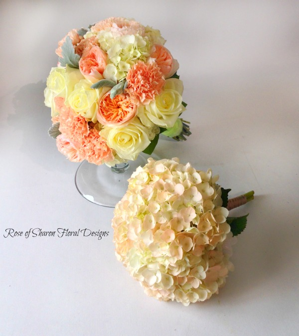 Peach Hand Tied Bouquets, Rose of Sharon Floral Designs