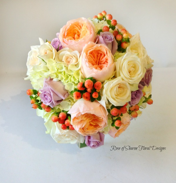 Peach and Purple Bouquet with Roses and Hypericum Berries, Rose of Sharon Floral Designs