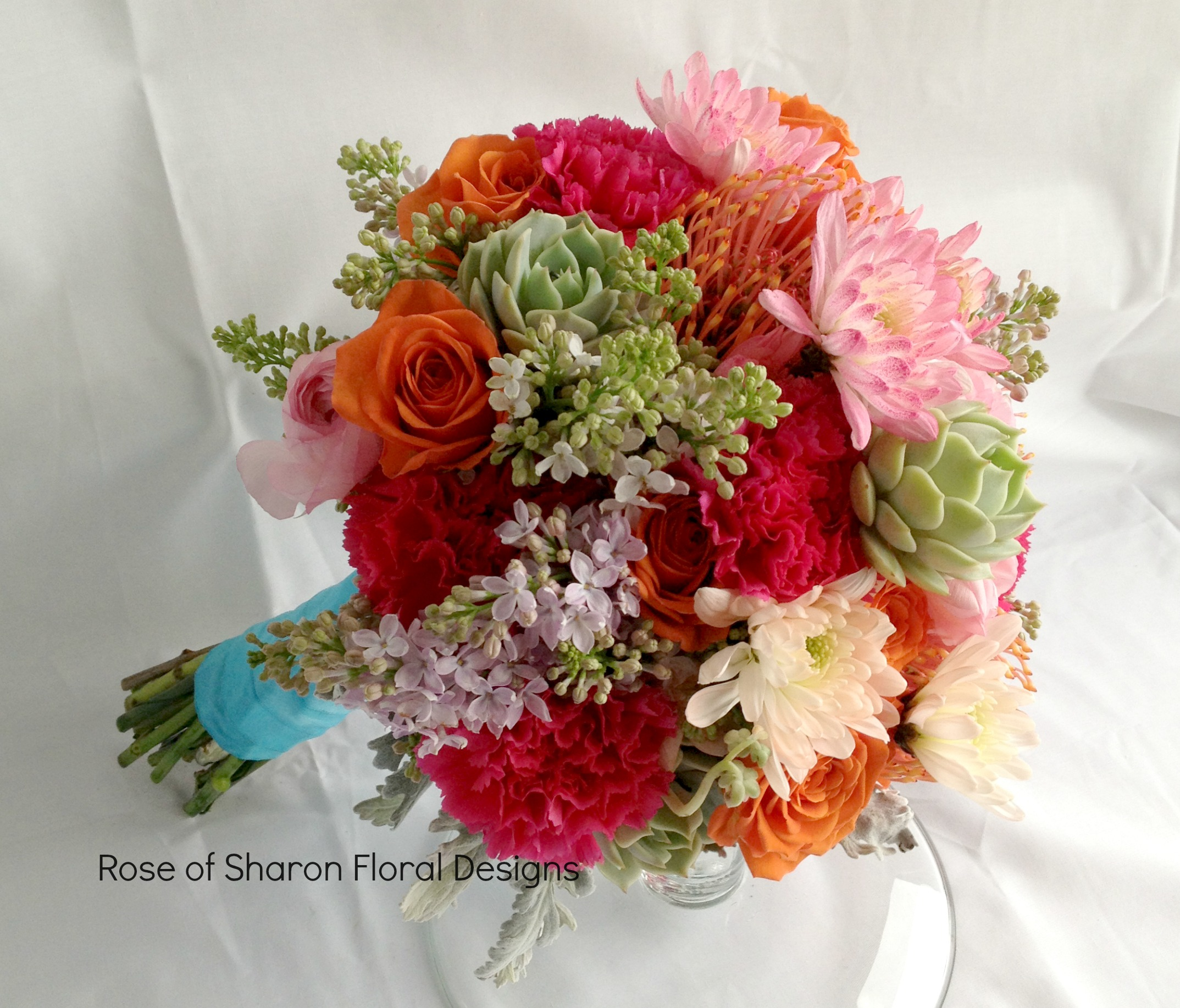 Pink and Orange Bouquet with Succulents, Rose of Sharon Floral Designs