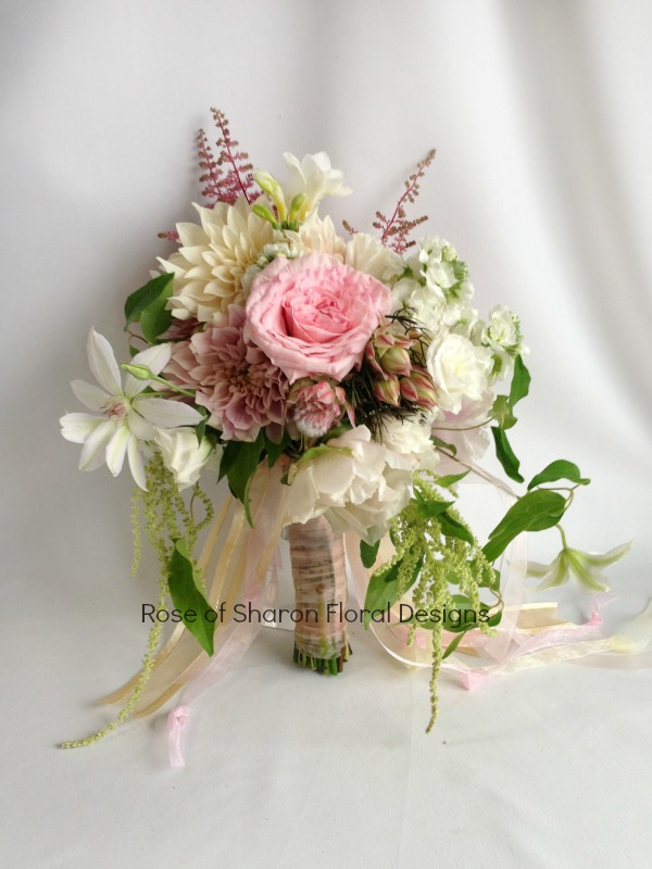 Pink and White. Mixed Garden Bouquet featuring Garden Roses and Dahlias, Rose of Sharon Floral Designs