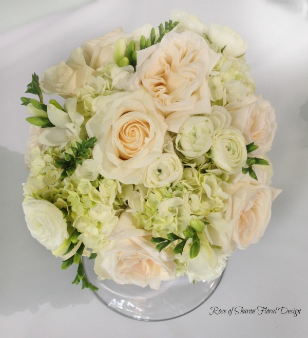 Blush and White. Hand Tied Hydrangea, Freesia, Garden Rose and Ranunculus Bouquet, Rose of Sharon Floral Designs