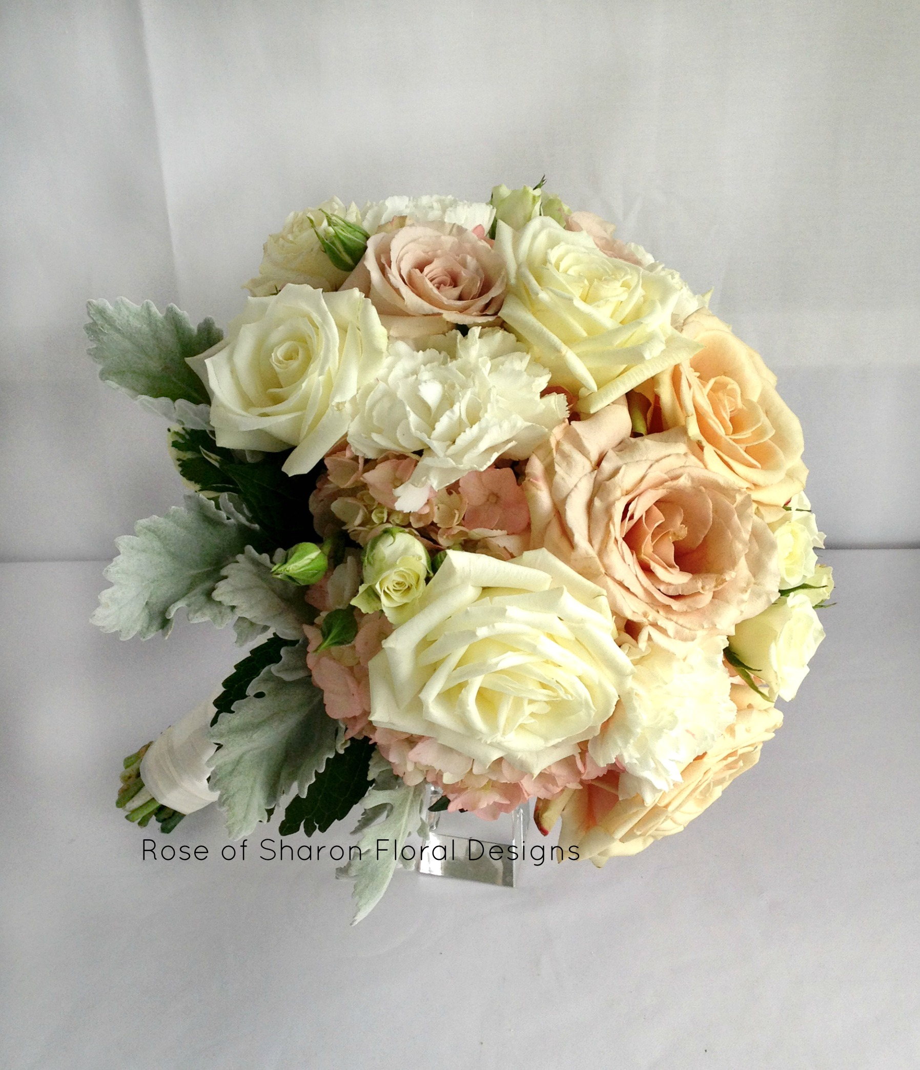 Hand Tied Hydrangea, Rose and Carnation Bouquet, Rose of Sharon Floral Designs