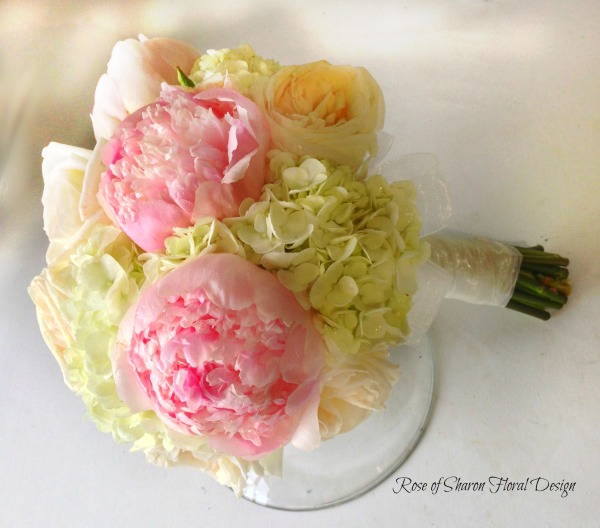 Hand Tied Hydrangea, Garden Rose and Peony Bouquet, Rose of Sharon Floral Designs