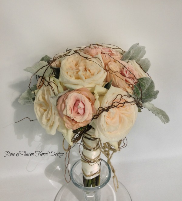 Hand Tied Rose Bouquet with Dusty Miller and Willow Accents, Rose of Sharon Floral Designs