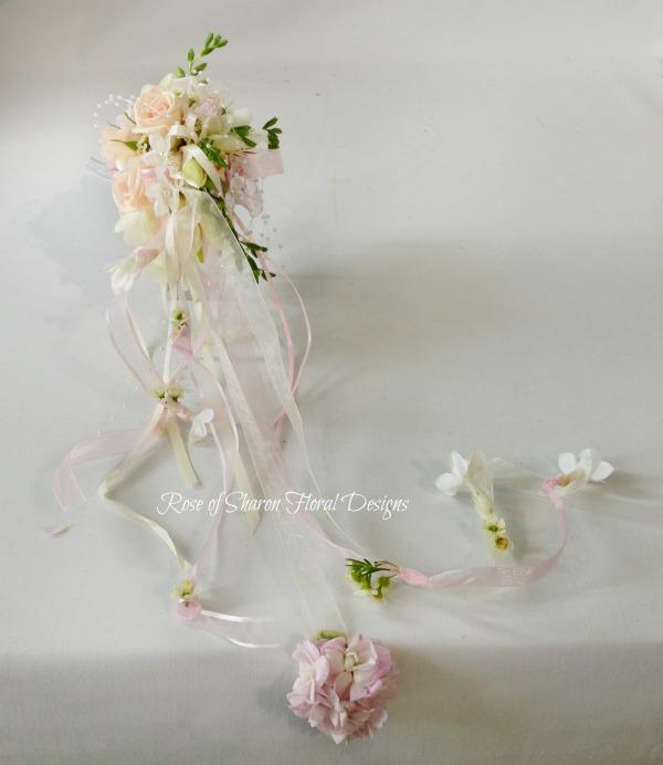Cascading Mixed Garden Bouquet, Rose of Sharon Floral Designs