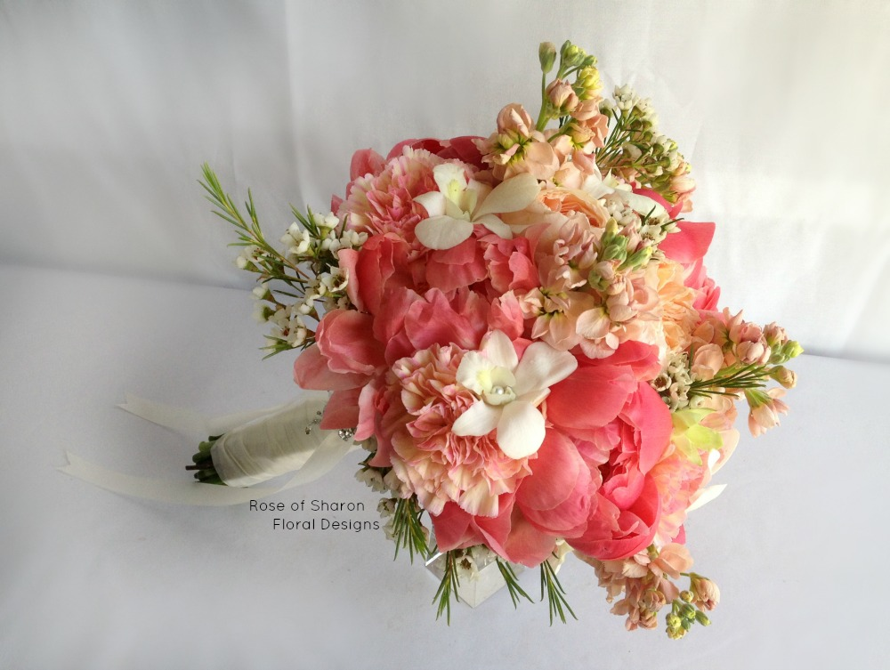 Peach Hand Tied Bouquet featuring Peonies, Orchids and Stock, Rose of Sharon Floral Designs