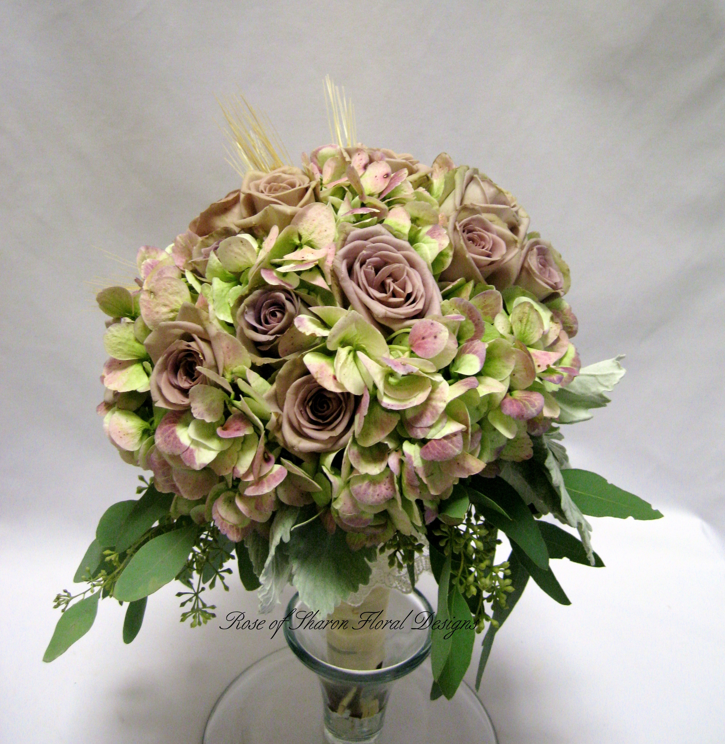 Hand Tied Bouquet with Antique Hydrangeas and Roses, Rose of Sharon Floral Designs