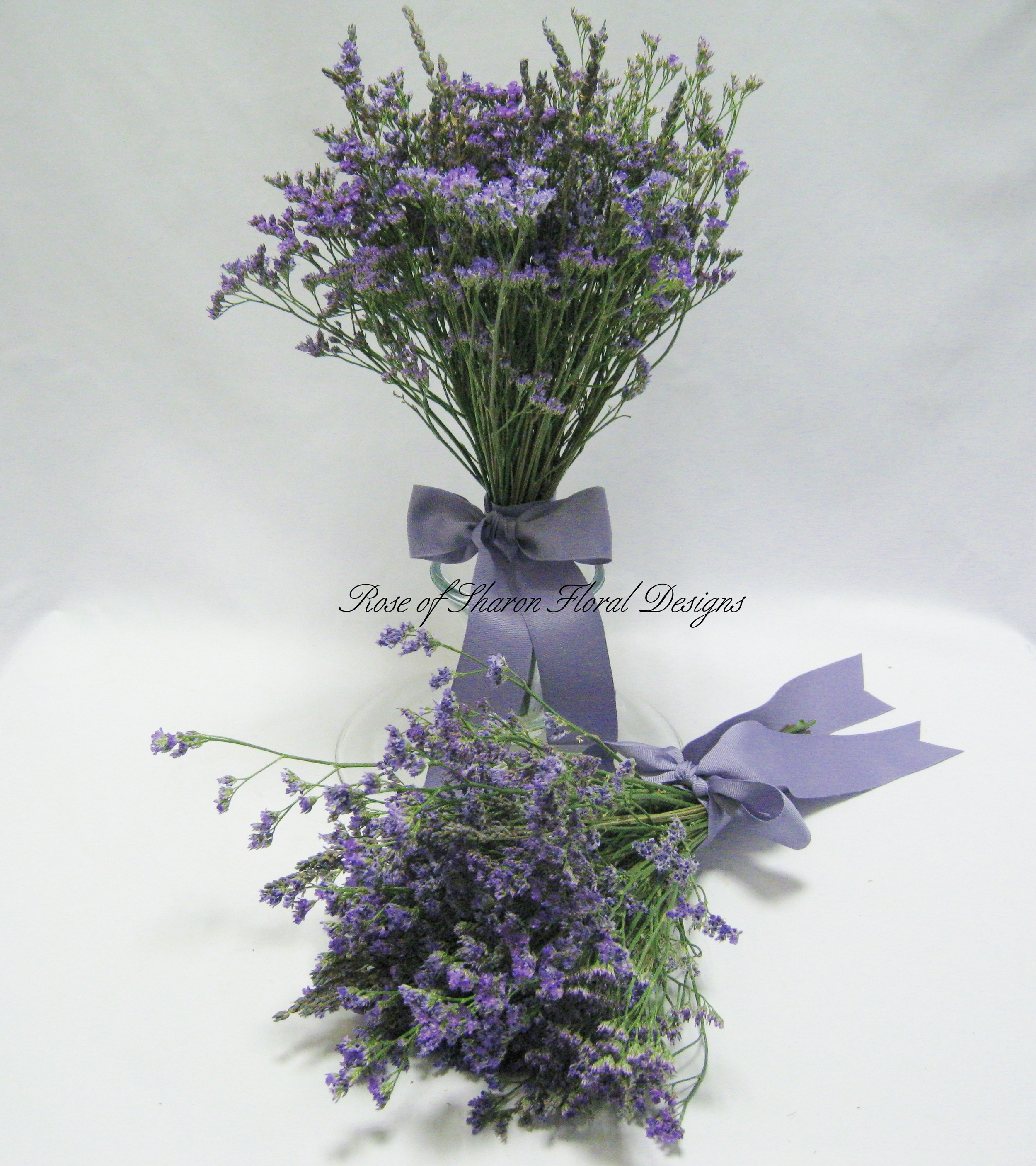 Hand Tied Limonium Bouquets, Rose of Sharon Floral Designs