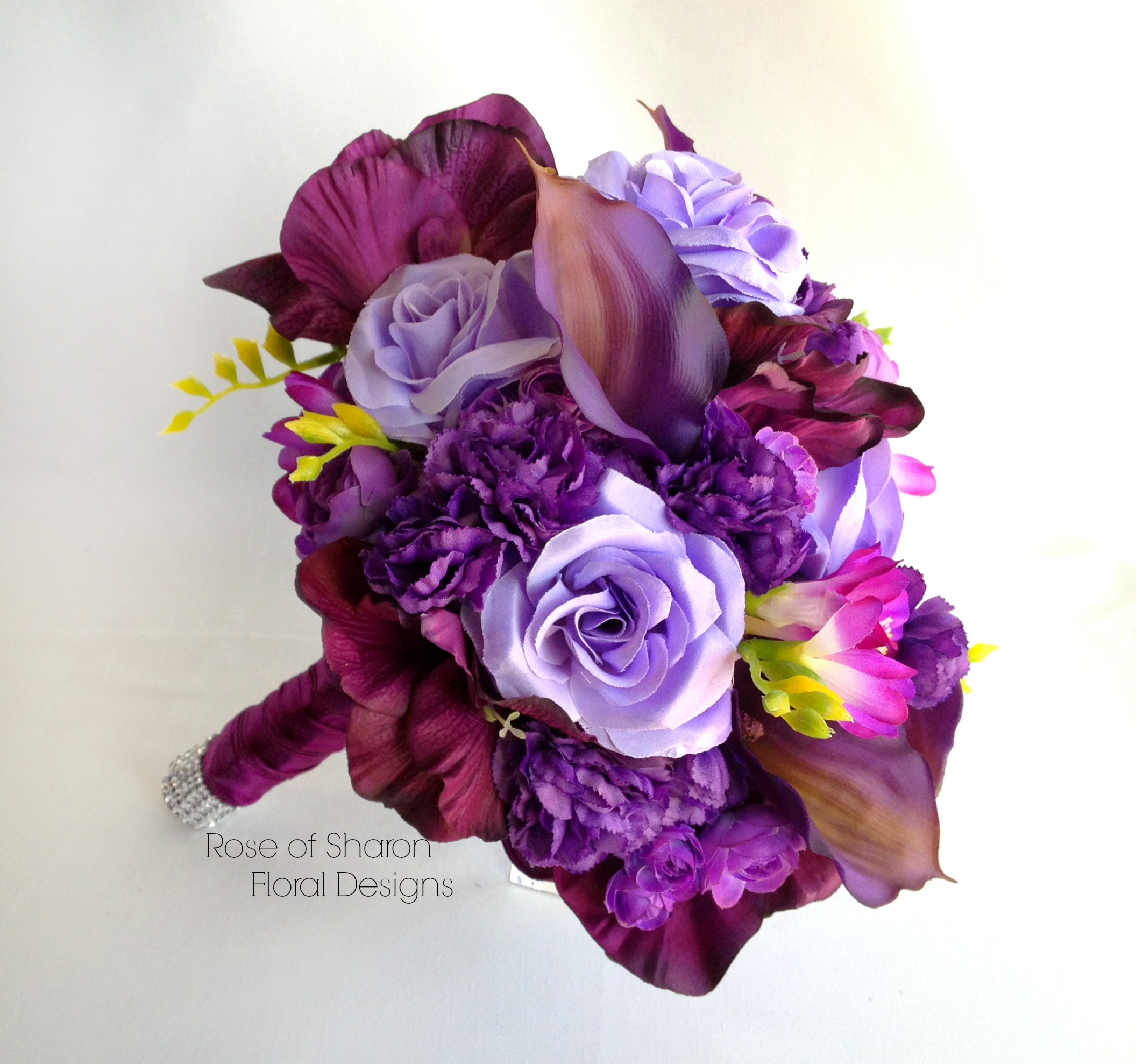 Mixed Purple Bouquet featuring Calla Lilies, Roses and Carnations, Rose of Sharon Floral Designs
