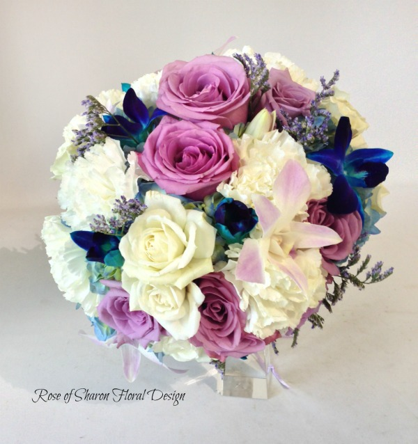 Hand Tied Bouquet with Purple and White Roses, Carnations and Orchids, Rose of Sharon Floral Designs