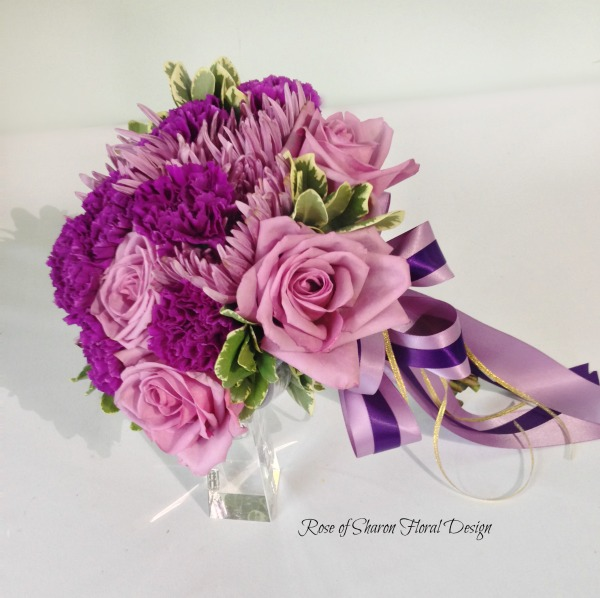 Hand Tied Purple Rose, Carnation and Mum Bouquet, Rose of Sharon Floral Designs