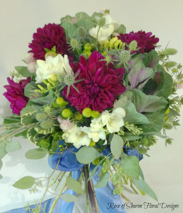 Foliage Bouquet with Purple Dahlias, Rose of Sharon Floral Designs