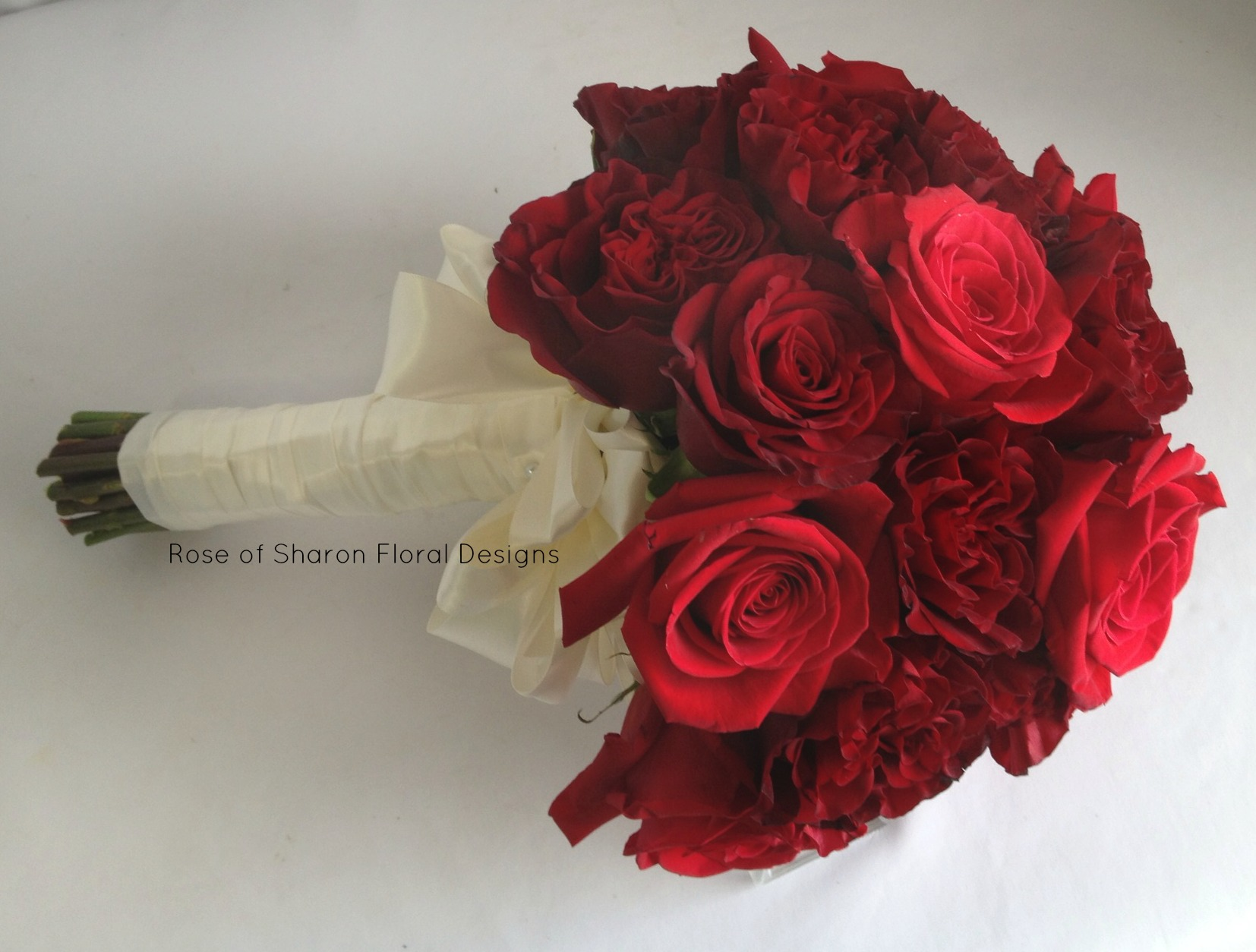 Hand Tied Red Rose Variety Bouquet, Rose of Sharon Floral Designs