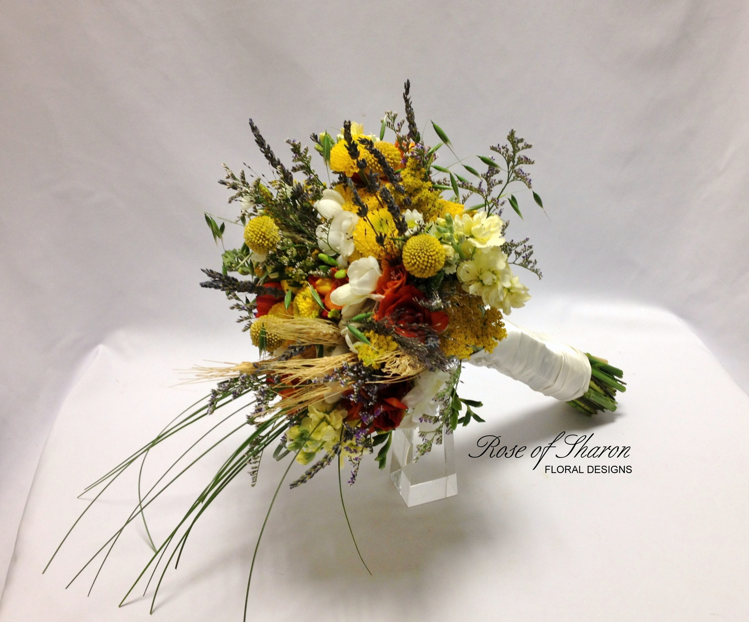 Yellow organic bouquet with mums, grasses & wheat. Rose of Sharon Floral Designs