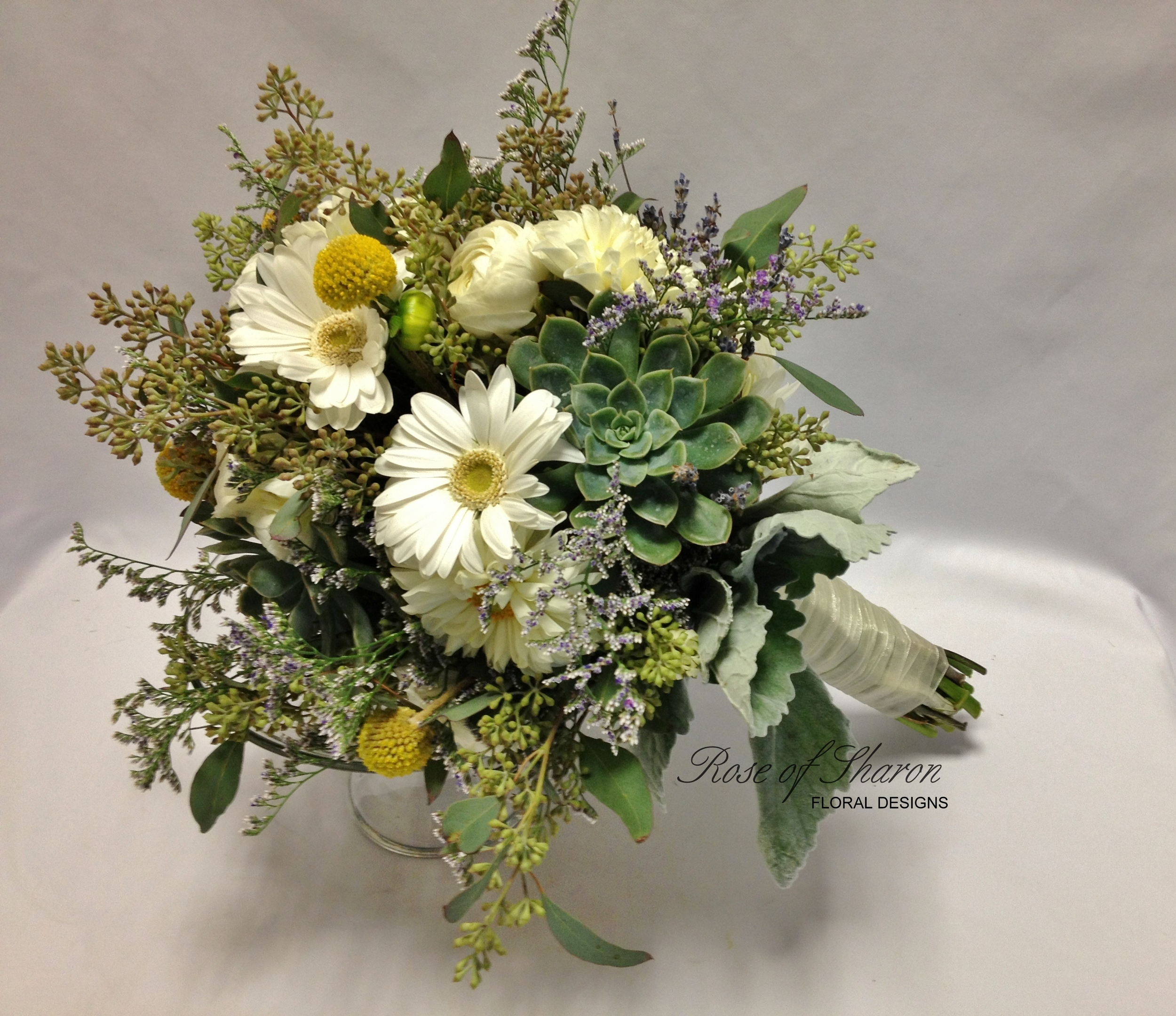 Succulent & gerbera daisy bouquet with billy balls & eucalyptus. Rose of Sharon Floral Designs