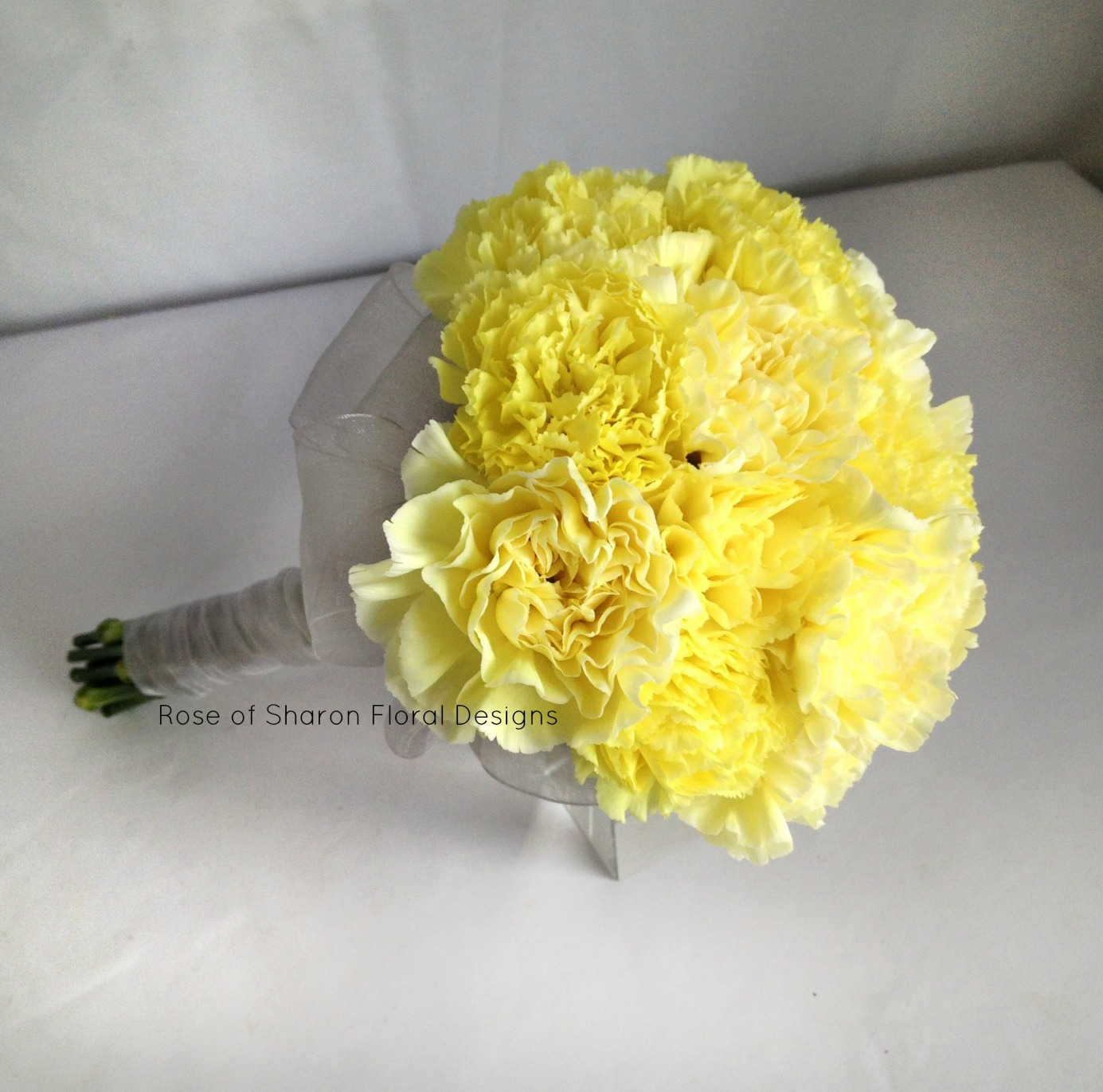 Yellow carnation bouquet. Rose of Sharon Floral Designs