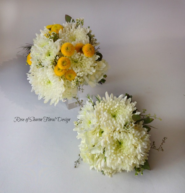 Yellow & white mixed mum bouquet. Rose of Sharon Floral Designs