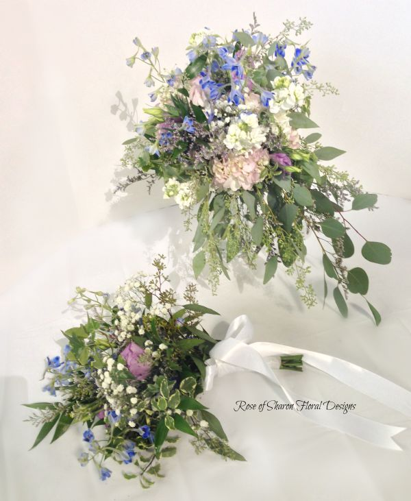 Blue and Pink Organic Bride and Bridesmaid Bouquets. Delphinium, Hydrangea & Assorted Greenery. Rose of Sharon Floral Designs