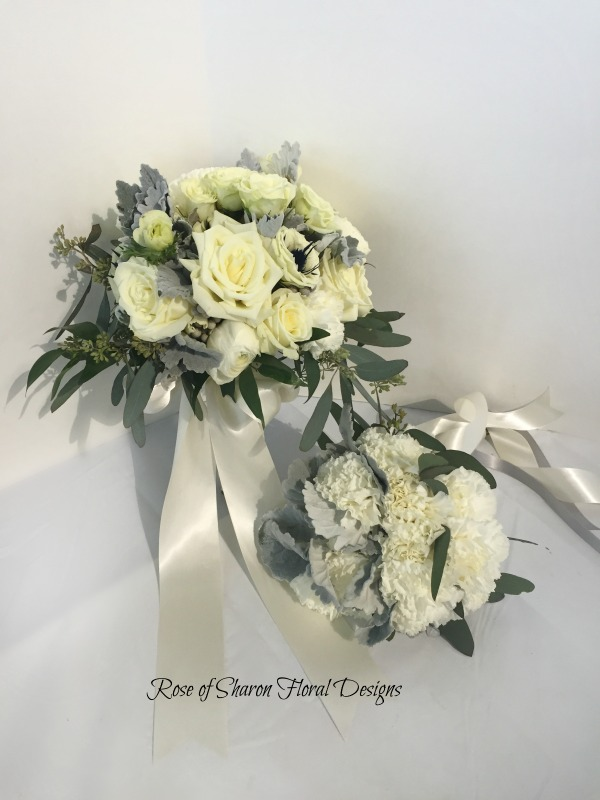 Hand-Tied Bride and Bridesmaid Bouquet. White Roses, Carnations & Gray Dusty Miller. Rose of Sharon Floral Designs