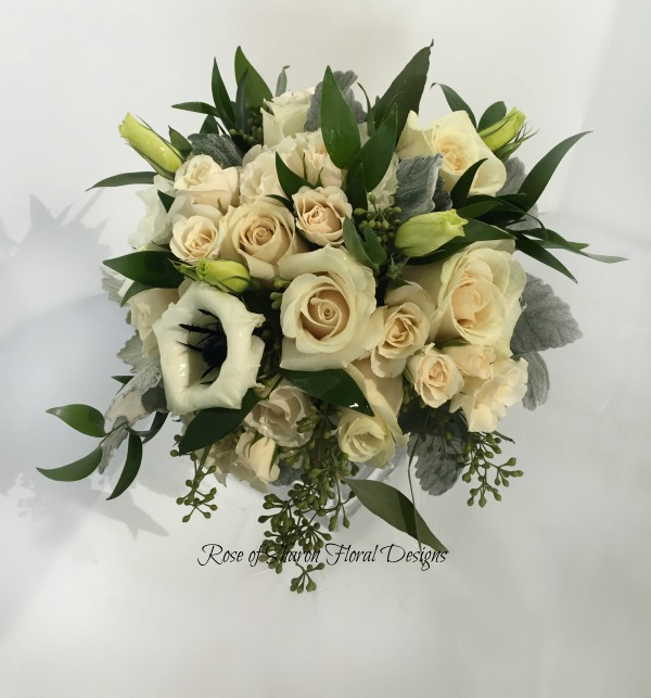 Hand-Tied Bouquet. Pale Blush Roses, Anemones & Eucalyptus. Rose of Sharon Floral Designs