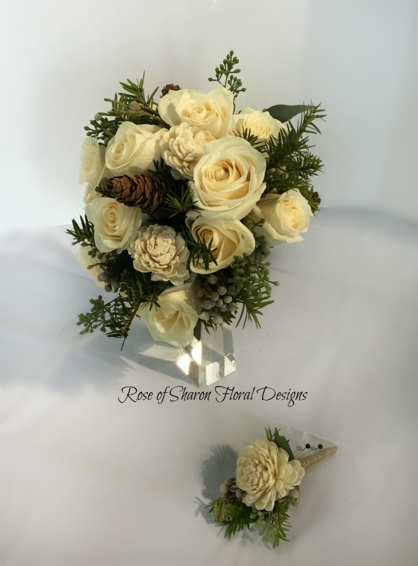Winter Hand-Tied Bouquet. Balsa Wood Roses, Evergreens, Pinecones & Roses. Rose of Sharon Floral Designs