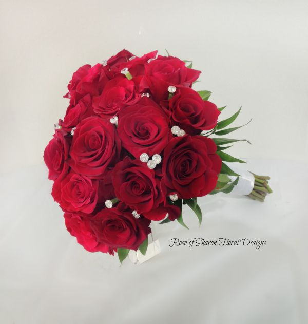 Red rose bouquet with diamond accents. Rose of Sharon Floral Designs