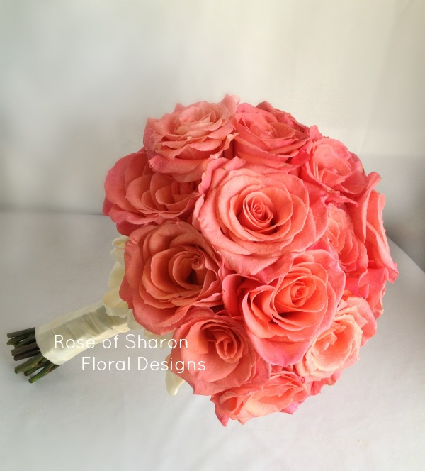 Coral Hand-Tied Bouquet with 'Amsterdam' Roses. Rose of Sharon Floral Designs