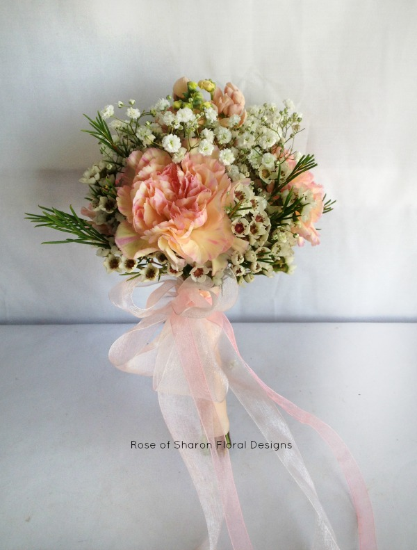 Small Hand-Tied Bouquet with Carnations and Wax Flower, Rose of Sharon Floral Designs