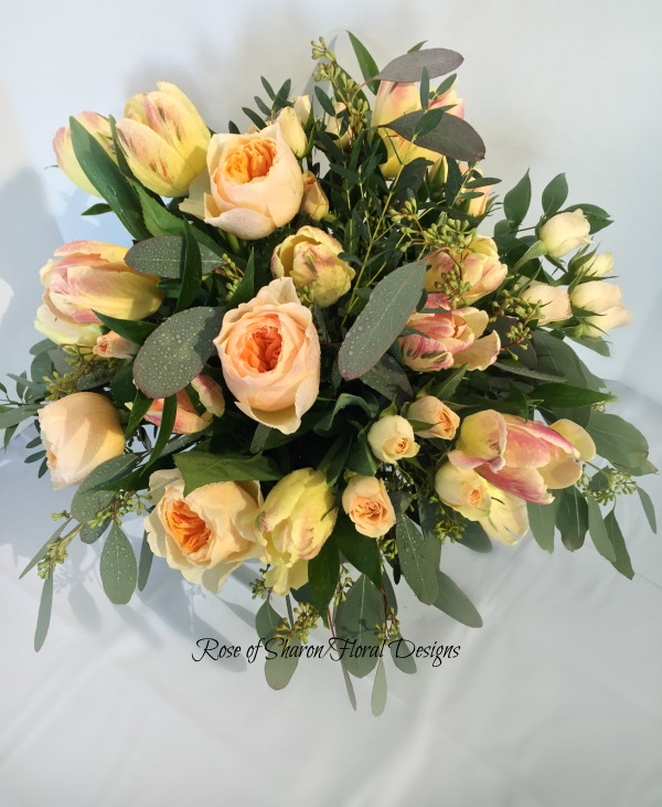 Hand-Tied Bouquet featuring Tulips, Roses, and Eucalyptus, Rose of Sharon Floral Designs